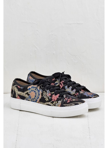 Elle Çiçekli Sneaker Ayakkabı Siyah